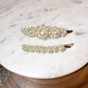 2 Piece Pearl Gold Hair Pin
